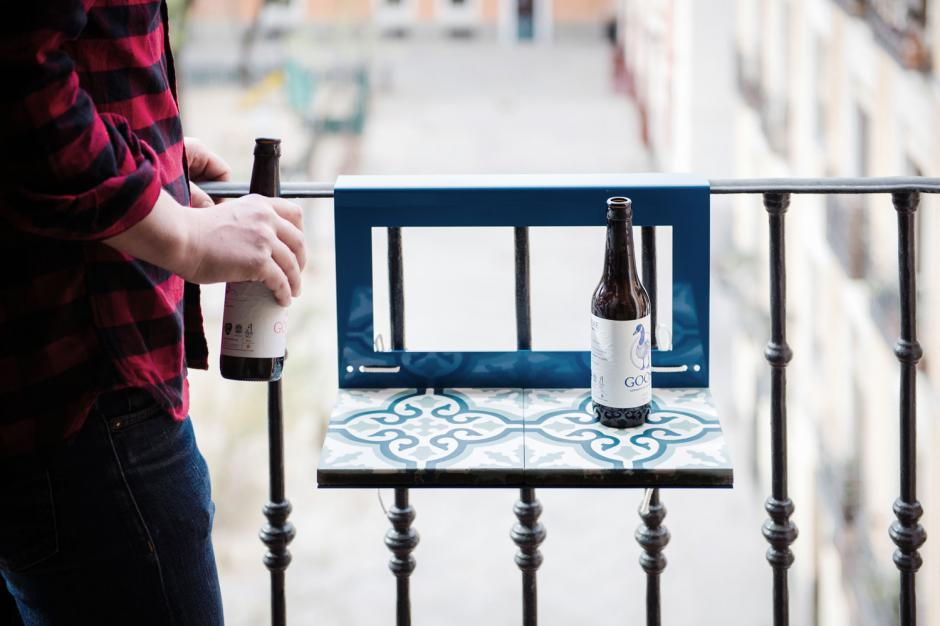 table for balcony with hydraulic tile