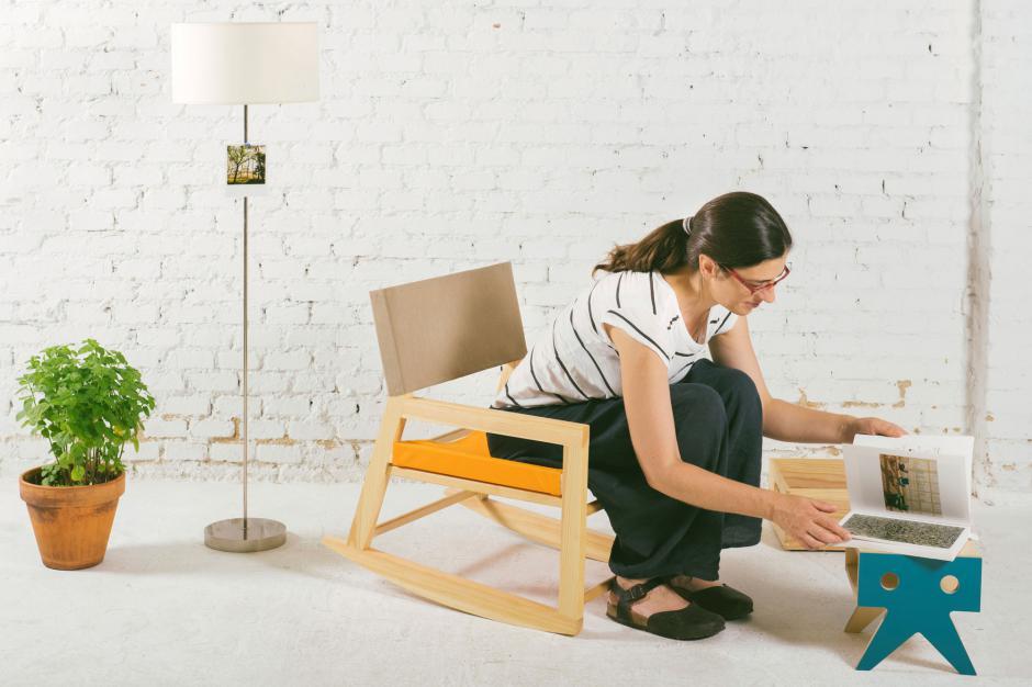 sillones y mecedoras de madera y tela de toldo